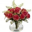 Dark Pink Rose & Maiden Hair Arrangement w/Vase