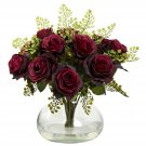 Burgundy Rose & Maiden Hair Arrangement w/Vase