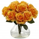 Orange Yellow Rose Arrangement w/Vase