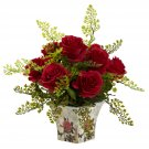 Red Rose & Maiden Hair w/Floral Planter