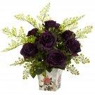 Purple Elegance Rose & Maiden Hair w/Floral Planter