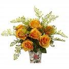 Orange/Yellow Rose & Maiden Hair w/Floral Planter