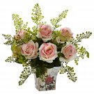 Light Pink Rose & Maiden Hair w/Floral Planter