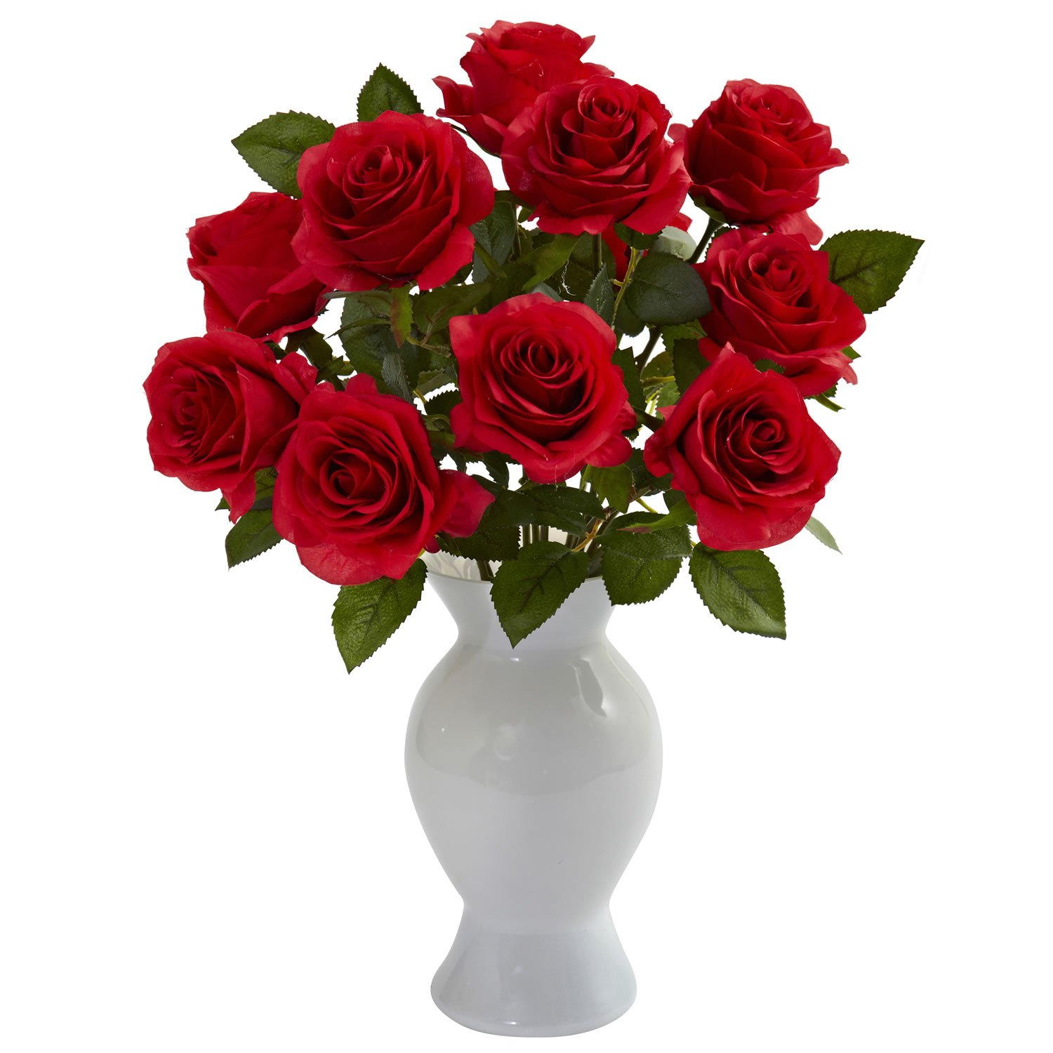 Red Rose Roses w/Colored Glass Vase