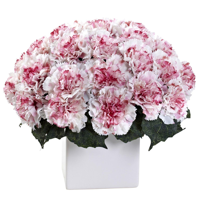 White Mauve Carnation Arrangement w/Vase