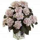 Cream Pink Hydrangea w/Large Floral Planter