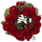"""Red 17"""" Geranium Wreath"""