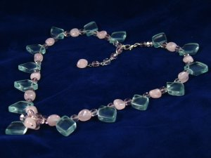 Blue glass topaz rose quartz purple crystal handcrafted artisan pendant chain necklace