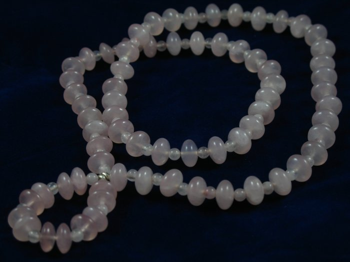Rose quartz long chain handcrafted artisan pendant necklace