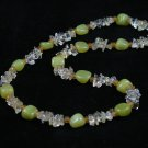 Green jade citrine chips handcrafted artisan chain necklace