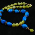 Blue turquoise green jade gold plated pewter beads handcrafted artisan pendent necklace