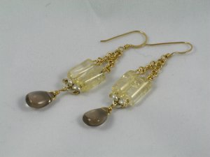 citrine gold filled chain smoky quartz heavy sterling silver dangle handcrafted earrings
