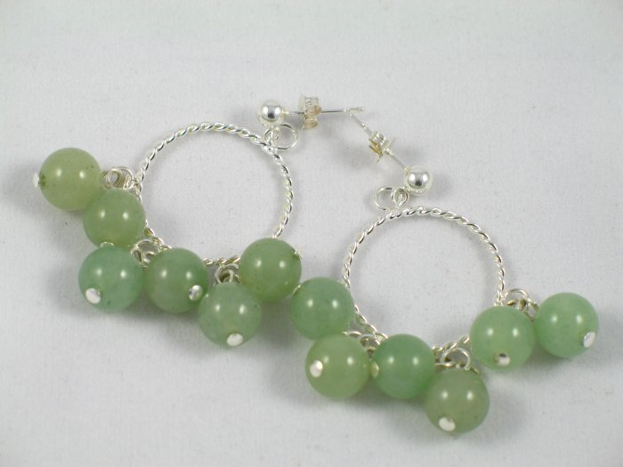 green aventurine sterling silver circle dangle handcrafted earrings