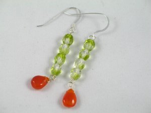 olive green crystal carnelian long dangle handcrafted earrings