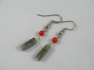 red coral blood stone dangle handcrafted earrings