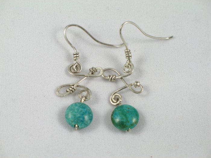 sterling silver wrapped green turquoise dangle handcrafted earrings