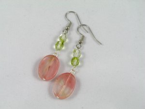 cherry glass quartz olive green crystal dangle handcrafted earrings
