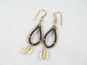 citrine real leather gold filled wrapped handcrafted dangle earrings