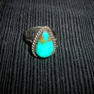 Vintage Native American Silver & Turquoise Ring 7