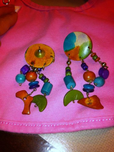 Multi-Colored Button drop Earrings