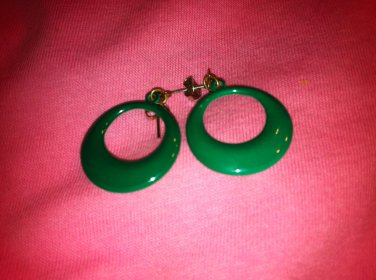 Green Pierced Earrings