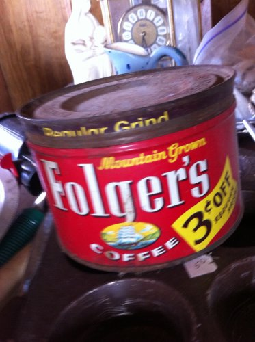 Vintage Folgers Coffee Can from the 1950's