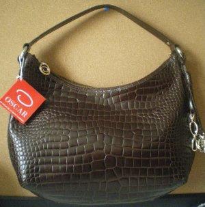 Authentic Oscar De La Renta Handbag Purse Brown Alegria with Charms