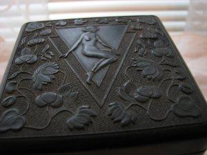 Carved Bakelite Cigarette Box -Nouveau Revival Ca 1945