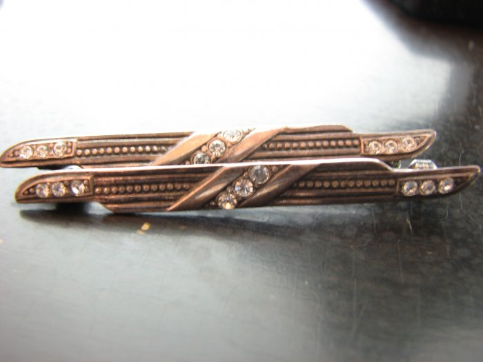 Pair of Deco Sterling and Rhinestone Pins/Lingerie Clips