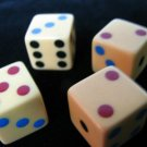Rare & Unusual Set of Four Multicolor Dot Bakelite Dice