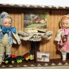"""Two sweet 5"""" (Swivel head) All Bisque Antique German dolls in Toy Room Box"""