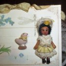 """Tiny 1 1/2"""" Jointed artist dollhouse doll and duck toy on keepsake card"""
