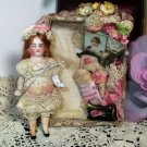 """Lovely 3"""" All bisque Antique German Dollhouse doll in sew room Display box"""