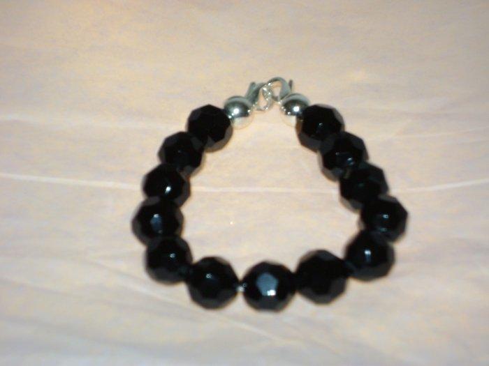 Black Facetted Glass Medical I.D. Alert Replacement Bracelet