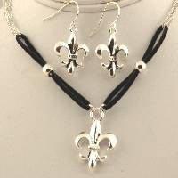 Fleur de lis leather & silver pendant set
