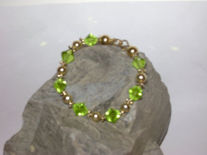 Medical Alert Replacement Bracelet Green& Gold
