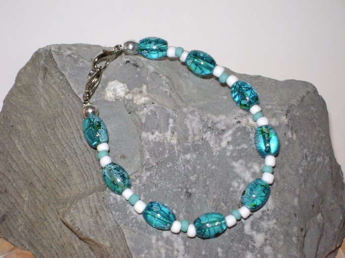 Teal Glass Bead Medical Alert I.D. Replacement Bracelet