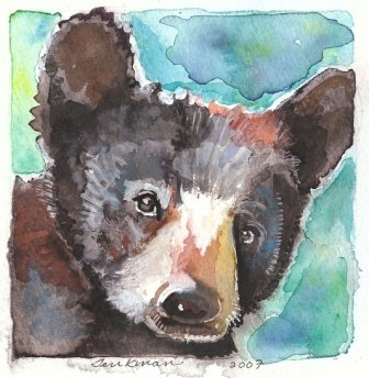 """Black Bear Cub"" Watercolor Painting Print"