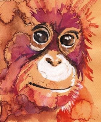 """""""Baby Orangutan"""" Watercolor Painting Print"""