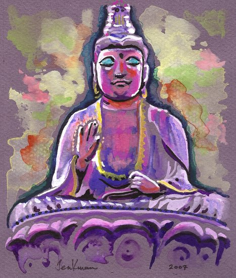 """Saipan Buddha"" Watercolor Painting Print"