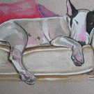 """Napping Bull Terrier"" Watercolor Painting Print"