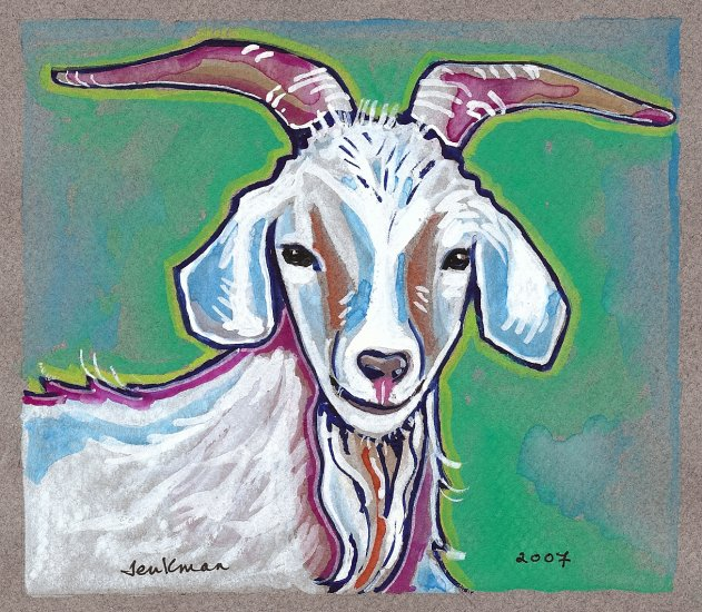"""Billy Goat ""Watercolor Painting Print"