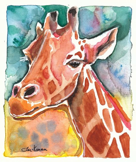 """Giraffe"" Watercolor Painting Print"