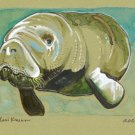 """Gentle Manatee"" Watercolor Painting Print"