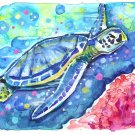 """Green Sea Turtle"" Watercolor Painting Print"