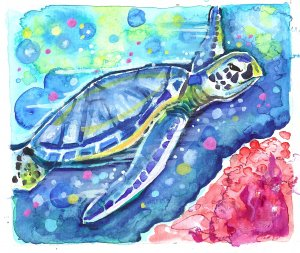 """Green Sea Turtle"" Watercolor Painting Print"