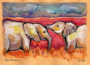 """""""African Elephants"""" Watercolor Painting Print"""