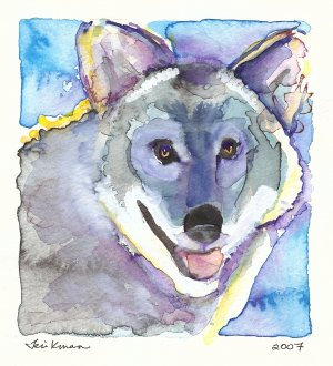 """""""Laughing Wolf"""" Watercolor Painting Print"""