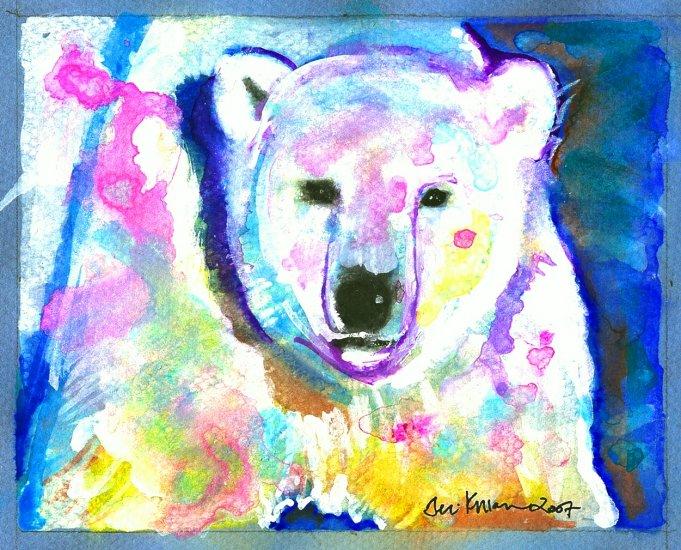 """Northern Lights"" Polar Bear Watercolor Painting Print"