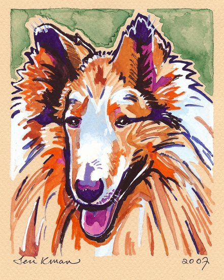 """Collie"" Watercolor Painting Print"